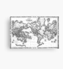 Black and White World Map (1864) 2 Canvas Print