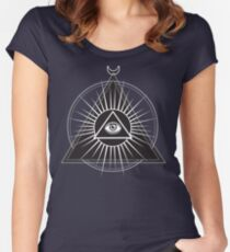 Illuminati Pyramid with All-Seeing Eye Women's Fitted Scoop T-Shirt