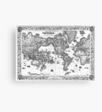 Black and White World Map (1852) Canvas Print