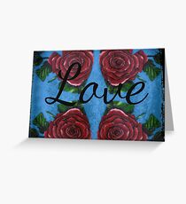 Four Roses And Hearts with Love Greeting Card
