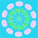 Pink flowers in a circle on blue background by ikshvaku