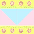 Pink Roses with leaves and other geometric patterns by ikshvaku