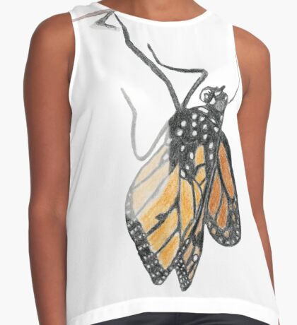 Monarch Butterfly emerging from its Chrysalis Sleeveless Top