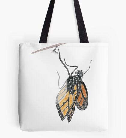Monarch Butterfly emerging from its Chrysalis Tote Bag