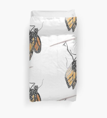 Monarch Butterfly emerging from its Chrysalis Duvet Cover