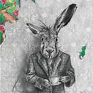 March Hare Art Alice in Wonderland Art Tea Party Fairy Tale Art by Deanna Davoli