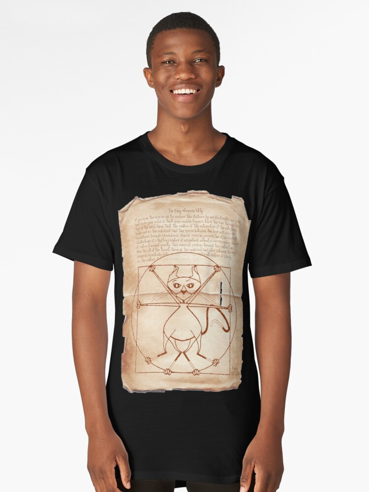 KINKY KITTY - The Kinky Vitruvian Kitty Long T-Shirt Front