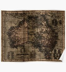 Vintage Map of Australia Poster