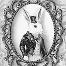 White Rabbit Art Alice in Wonderland Art Bunny Art  by Deanna Davoli