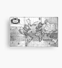 Black and White World Map (1702) Canvas Print