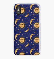 Vintage moon and sun stars celestial iPhone Case