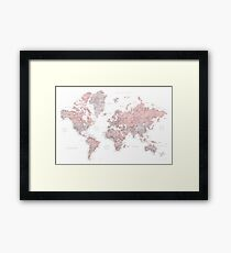 Muted pink and taupe detailed world map Framed Print