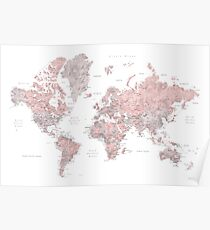 Muted pink and taupe detailed world map Poster