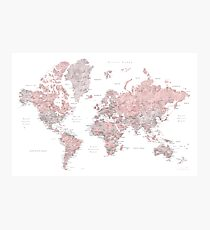 Muted pink and taupe detailed world map Photographic Print
