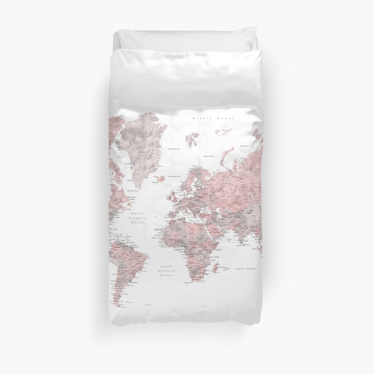 Gedämpfte rosa und Taupe detaillierte Weltkarte von blursbyai
