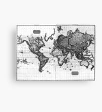 Black and White World Map (1812) Canvas Print
