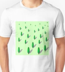 Polygonal Green Forest. Set of Trees Isolated on Green Background T-Shirt