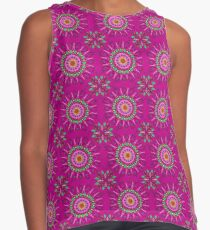 Cheerful Moroccan Flower Pattern  Contrast Tank