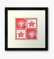Scandinavian Red and White Stars and Hearts Framed Print