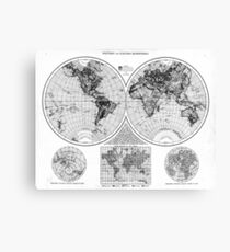 Black and White World Map (1895) 2 Canvas Print