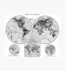 Black and White World Map (1895) 2 Photographic Print