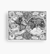 Black and White World Map (1744) Canvas Print