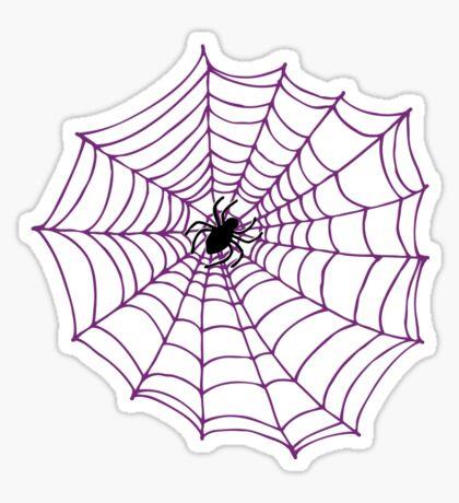 Spider web pattern - purple on white - by Cecca Designs Sticker