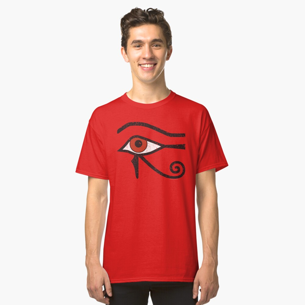 Eye of Horus Ancient Egyptian Symbol of Protection on Red Classic T-Shirt Front
