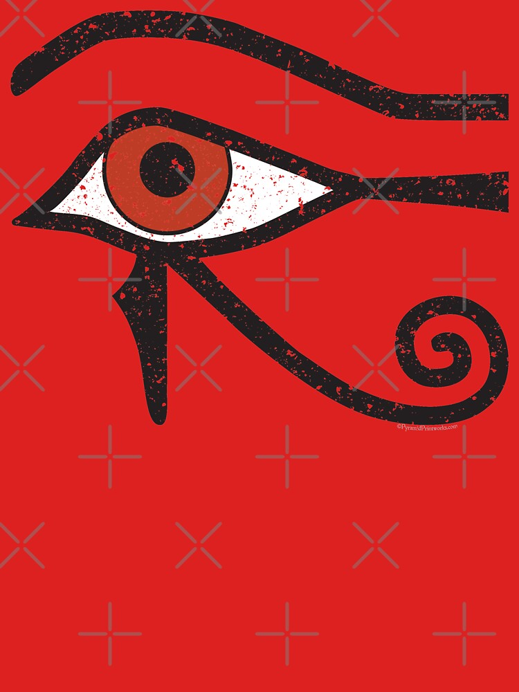 Eye of Horus Ancient Egyptian Symbol of Protection on Red by PyramidPrintWrx