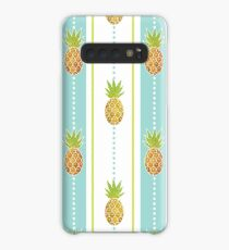 Glitter Tropical Pineapple with Stripes and Dots Case/Skin for Samsung Galaxy