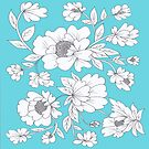Floral in Turquoise by Rosie Brown