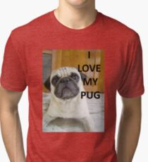 pug love fawn with picture Tri-blend T-Shirt