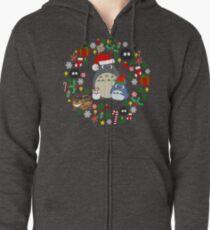 Christmas Totoro in Green - Holiday, Xmas, Presents, Peppermint, Candy Cane, Mistletoe, Snowflake, Poinsettia, Anime, Catbus, Soot Sprite, Blue, White, Manga, Hayao Miyazaki, Studio Ghibl Zipped Hoodie