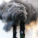 Sugar mill stacks smoking. by VashR31