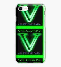 GREEN V FOR VEGAN. SAVE LIVES. iPhone Case/Skin