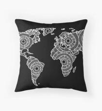 White on Black World Map Throw Pillow