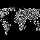 White on Black World Map by julieerindesign