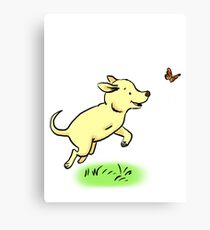 Tripod Dog, Three Legged Dog Playing Canvas Print