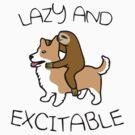 Lazy And Excitable (Sloth Riding Corgi) by jezkemp