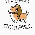 «Perezoso y excitable (Sloth Riding Corgi)» de jezkemp