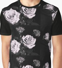 Lilac rose on black background Graphic T-Shirt