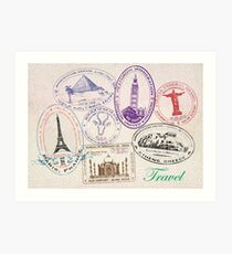 Travel - Passport Stamps Art Print
