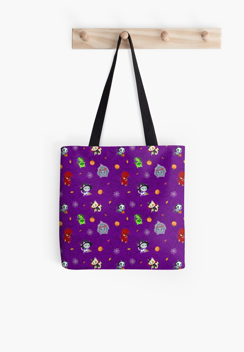 Halloween Chibi Winged Kitties - Purple Background by Julia Lichty