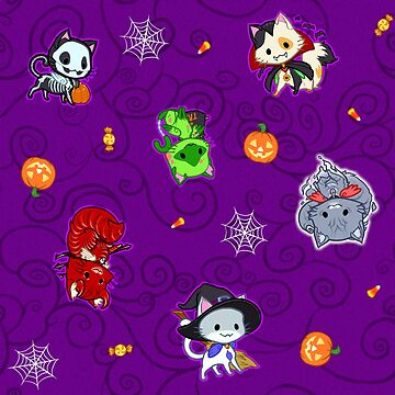 Halloween Chibi Winged Kitties - Purple Background by ghostfire