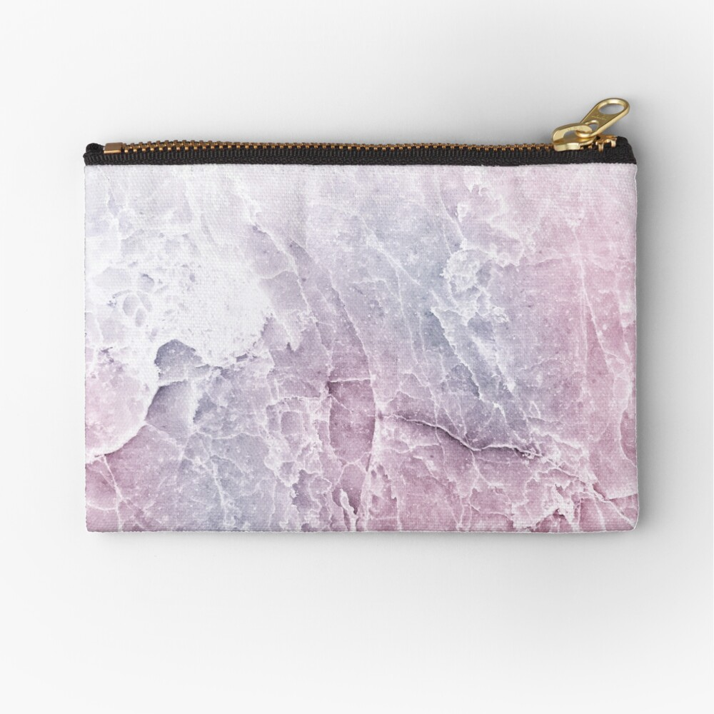 Sea Dream Marble - Rose and White Zipper Pouch