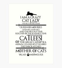Mother Of Cats. Catleesi Funny Cat Lovers Gift for Women Art Print