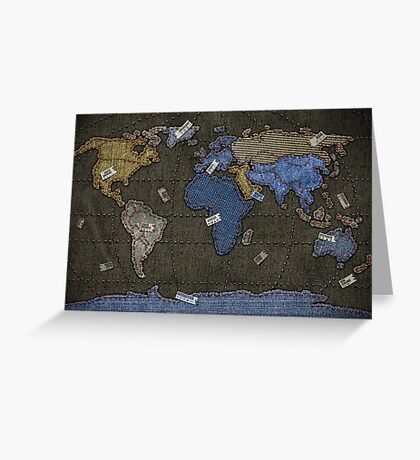 Jeans World Map Greeting Card