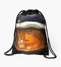 Snowy Rooftops Drawstring Bag