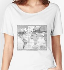 Black and White World Map (1823) Women's Relaxed Fit T-Shirt