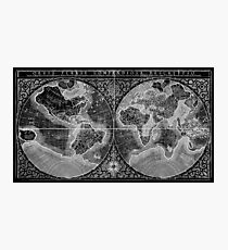 Black and White World Map (1607) Inverse Photographic Print